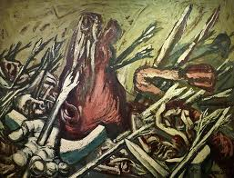 Figure 2. Los Teules IV, (1947), by José Clemente Orozco. Oil on masonite, 48.8 x 63 in. (124 x 160 cm). Carrillo Gil Museum Collection, Mexico City.