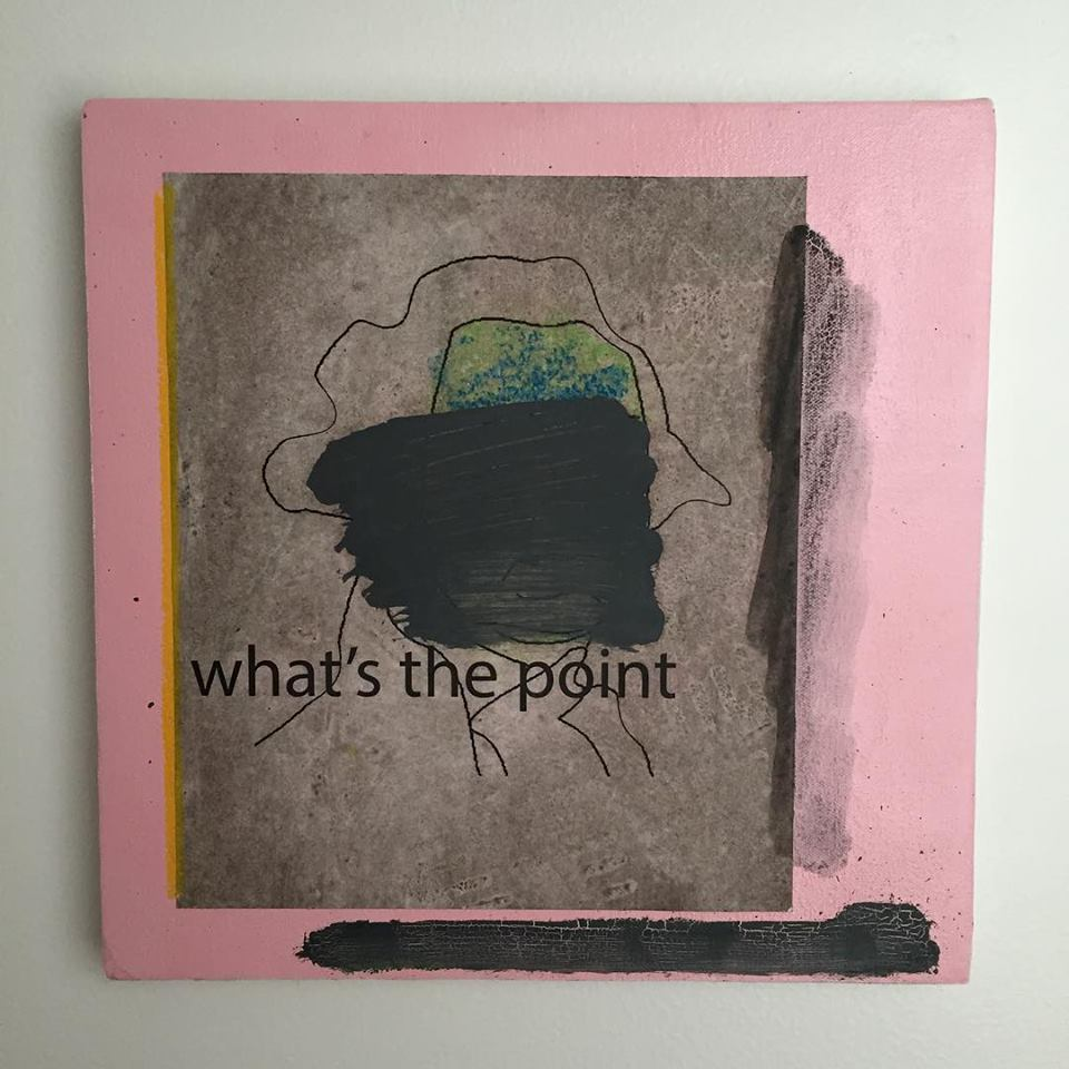What's the Point, 2015, Xerox print, oil, and aerosol on canvas, by Ben Quinn