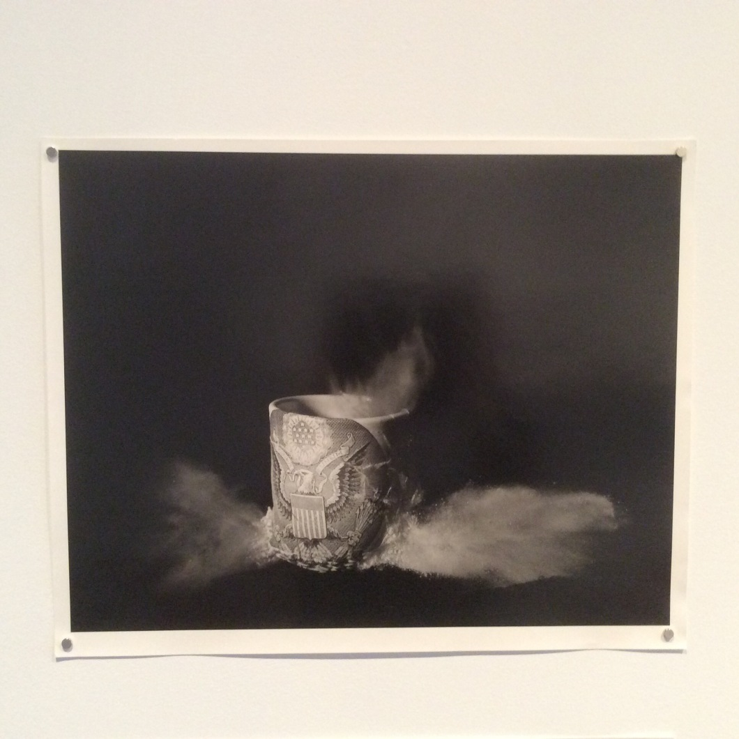 Shot Cups (2008), these images are of Ehren Tool's vessels being shot through by weapon fire, and are part of a series of works made in collaboration with California-based photographer Ian Martin