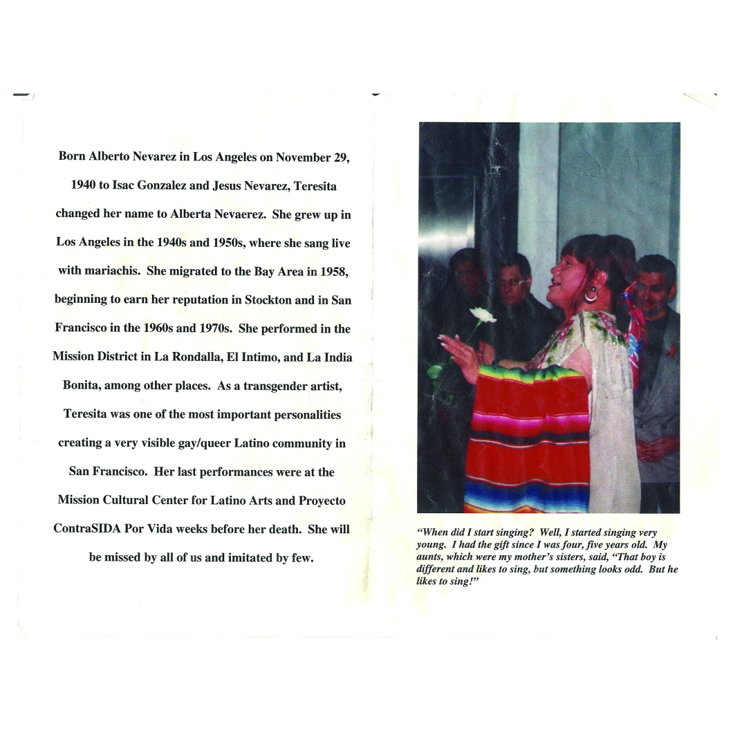 1960's – 1990's, Biography and picture of mariachi singer and icon Alberta Nevarez a.k.a. Teresita la Campesina, a memento, Courtesy of Patricia Murillo